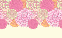 Doodle okręgu tekstury horyzontalny bezszwowy wzór Zdjęcie Stock