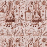 Doodle old musical sketches grunge paper pattern Royalty Free Stock Photos