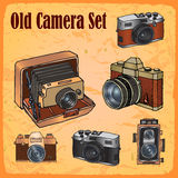 Doodle old style cameras Stock Images