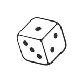Doodle of one casino dice. Vector illustration. Hand drawn doodle of one casino dice. Cartoon sketch. Gambling game symbol. Decoration for greeting cards stock illustration