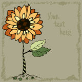 Doodle orange sunflower, vector illustration Stock Photography