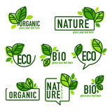 Doodle organic leaves emblems, elements Royalty Free Stock Photos