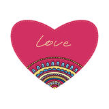 Doodle ornament heart. Colorful valentine's day card. Stock Photo