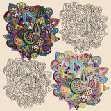 Doodle ornaments. Background with doodle ornaments:outline vector illustration