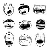 Doodle Outline Cartoon Emotional Faces with Teeth Funny Set Royalty Free Stock Images
