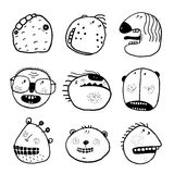 Doodle Outline Cartoon Emotional Faces with Teeth Funny Set Royalty Free Stock Photo