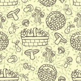 Doodle outline seamless pattern.Autumn harvest  Stock Image