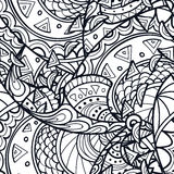 Doodle Outline Seamless Pattern Stock Image