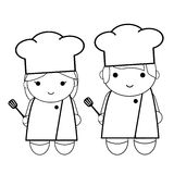 Doodle outline woman and man - chef Stock Photos