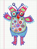 Doodle owl marker drawing Royalty Free Stock Photography