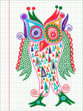 Doodle owl marker drawing Stock Images