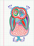 Doodle owl marker drawing Royalty Free Stock Image