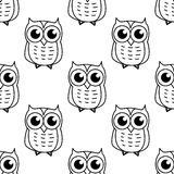 Doodle owl seamless pattern Stock Images