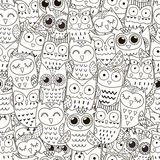 Doodle owls seamless pattern. Black and white cute owls background. Great for coloring book, wrapping, printing, fabric and textile. Vector illustration Stock Images