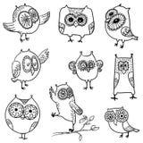 Doodle owls set Stock Photo