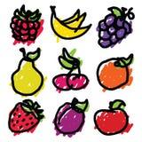 Doodle owoc ikony royalty ilustracja