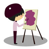 Doodle Painter painting his canvas - Full Color Royalty Free Stock Photo