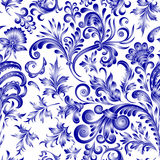 Doodle paisley seamless pattern. Gradient floral elements on white background. Gzhel. Watercolor imitation. Two colors. Doodle paisley seamless pattern. Gradient Royalty Free Stock Photo