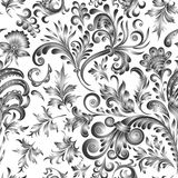 Doodle paisley seamless pattern. Gradient floral elements on white background. Gzhel. Watercolor imitation. Two colors Royalty Free Stock Photos