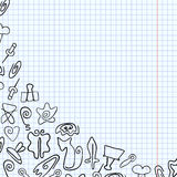 Doodle paper clips of various shapes drawn on a school notebook Royalty Free Stock Images