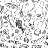 Doodle patern barbecue Stock Photography