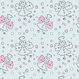 Doodle pattern with angels Royalty Free Stock Photography
