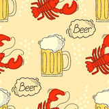 Doodle pattern with beer and crawfish. Royalty Free Stock Photos