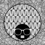 Doodle pattern with black skin woman in sunglasses for coloring. Stock Photography