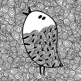 Doodle pattern with black and white bird image for coloring. Vector illustration Stock Images