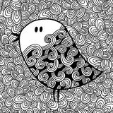 Doodle pattern with black and white bird image for coloring. Stock Photos