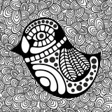 Doodle pattern with black and white bird image for coloring. vector illustration