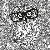 Doodle pattern with black and white hipster owl image for coloring. Royalty Free Stock Images