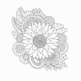 Doodle pattern with black and white sunflower Royalty Free Stock Photo