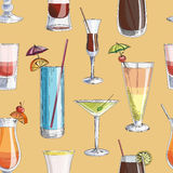 Doodle pattern cocktails Royalty Free Stock Photo