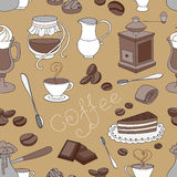 Doodle pattern coffee Royalty Free Stock Image