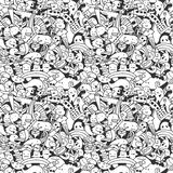 Doodle pattern with crazy doodle characters. Stock Photo
