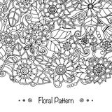 Doodle pattern with doodles, flowers and paisley. Royalty Free Stock Images