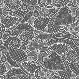 Doodle pattern with doodles, flowers and paisley. Stock Images