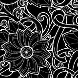Doodle pattern with doodles, flowers and paisley. Royalty Free Stock Image