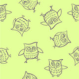Doodle pattern funny owl  illustration on a light Royalty Free Stock Images