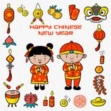 Doodle pattern happy chinese new year with cartoon illustration, greeting card, chinese character is mean lucrative vector illustration
