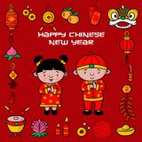 Doodle pattern happy chinese new year with cartoon illustration, greeting card, chinese character is mean lucrative royalty free illustration