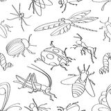 Doodle pattern insects Royalty Free Stock Photos