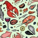 Doodle pattern sea food Stock Photo