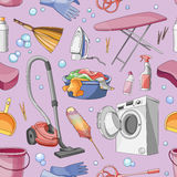 Doodle pattern set of cleanup Royalty Free Stock Photography