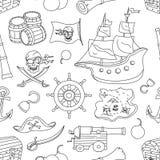 Doodle pattern set of pirates Stock Photos