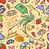 Doodle pattern summer vacation Stock Image