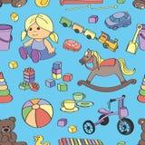 Doodle pattern toys Stock Photo