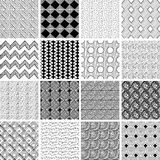 16 doodle patterns. Set of 16 doodled geometric seamless patterns and textures Stock Photography