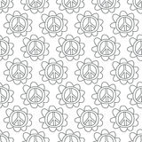 Doodle Peace Sign. Seamless background. Stock Image